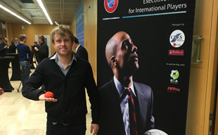 Footbag show in Head office of Uefa in Switzerland, Nyon